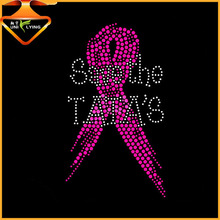 Designed for Cancer Awareness Rhinestone Pink Ribbon Iron on Transfer