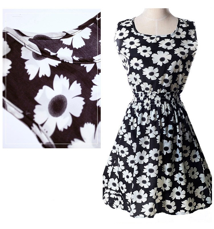 WH06-2 Summer sleeveless vest dress floral chiffon dress