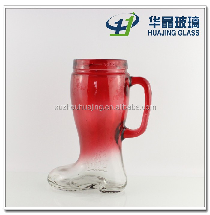 High quality 32oz bulk boot shape spray gradual red beer glass cup with handle wholesale
