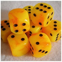 Pearl marble Orange 16mm d6 Dice cube