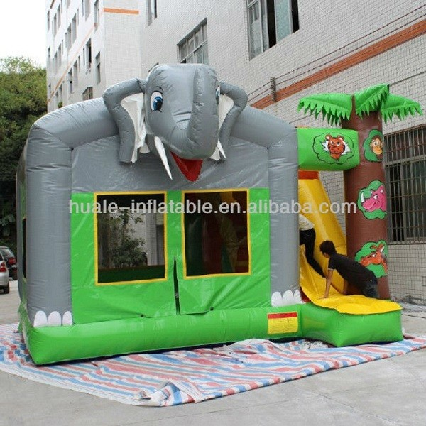 Newest fun joyful excellent quality Elephant inflatable bouncer slide combo