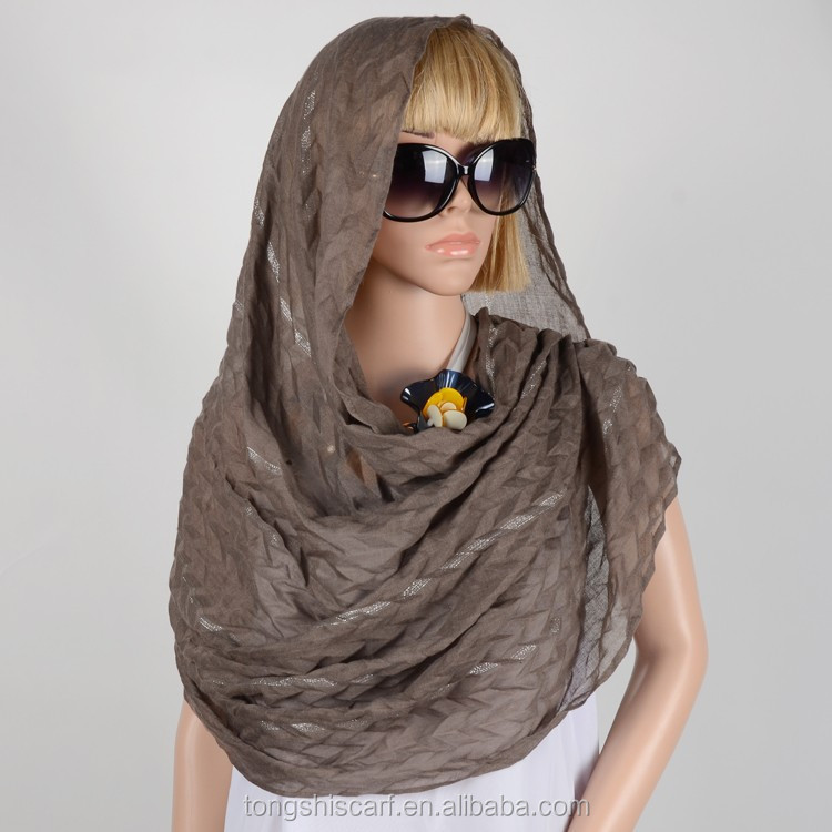 Hot Selling stylish Muslim crinkled yarn-dyed long scarf pashmina long shawl hot selling hijab