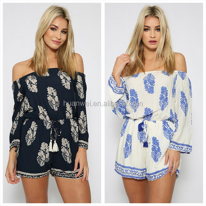 Factory off-shoulder leaves print Women 2018 Rompers Jumpsuits pants
