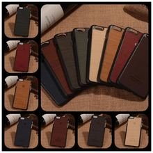 Royal Retro Fashion Wood grain Leather Cell Phone Back Case For Apple iPhone 6 6S 4.7 5.5 plus INCH Slim Luury PC Hard Cover