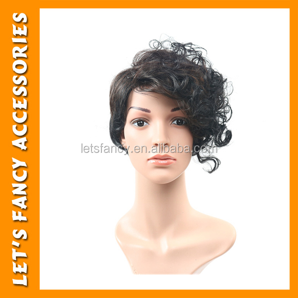 PGWG1431 Women Synthetic Cosplay Party Girl Short Curly Human Hair Wig