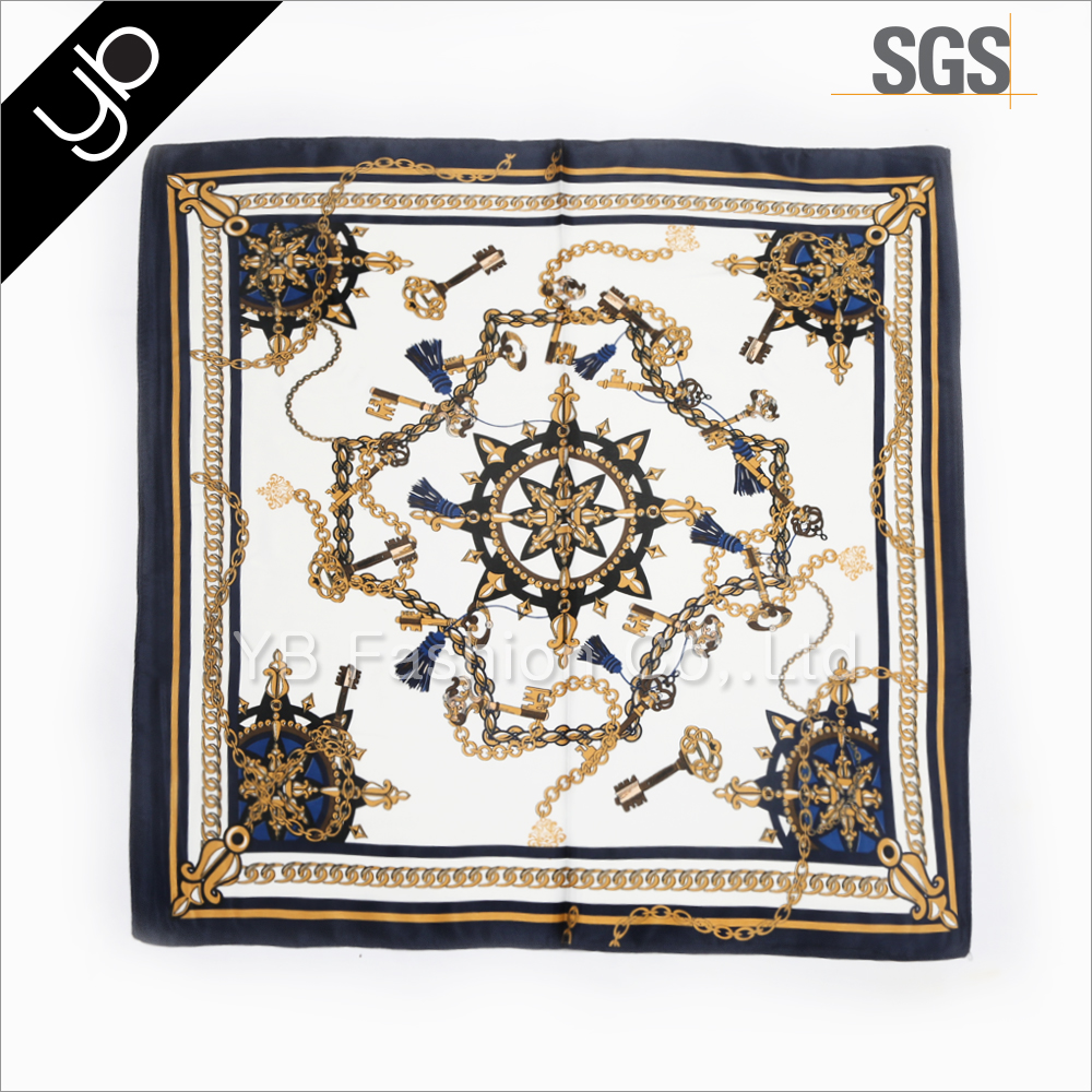 lady's fashionable digital printed square satin indian silk scarf