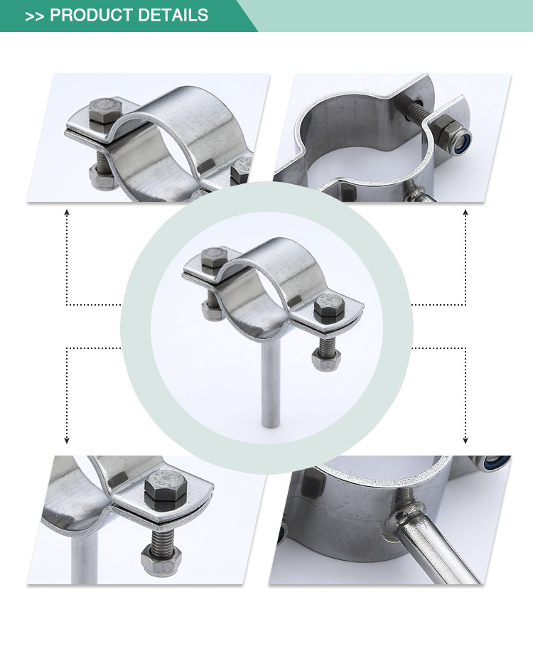 Exquisite workmanship durable stainless Steel clamp Sanitary pipe holder