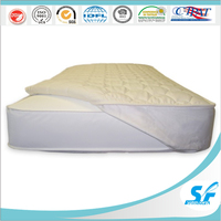 plain cotton fabric quilted hollow fiber mattress topper protector with 14'' 18'' bed skirt