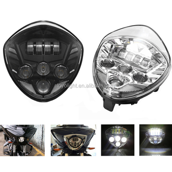 High power 40W LED Headlight H/L Beam chrome for vic tory motorcycle