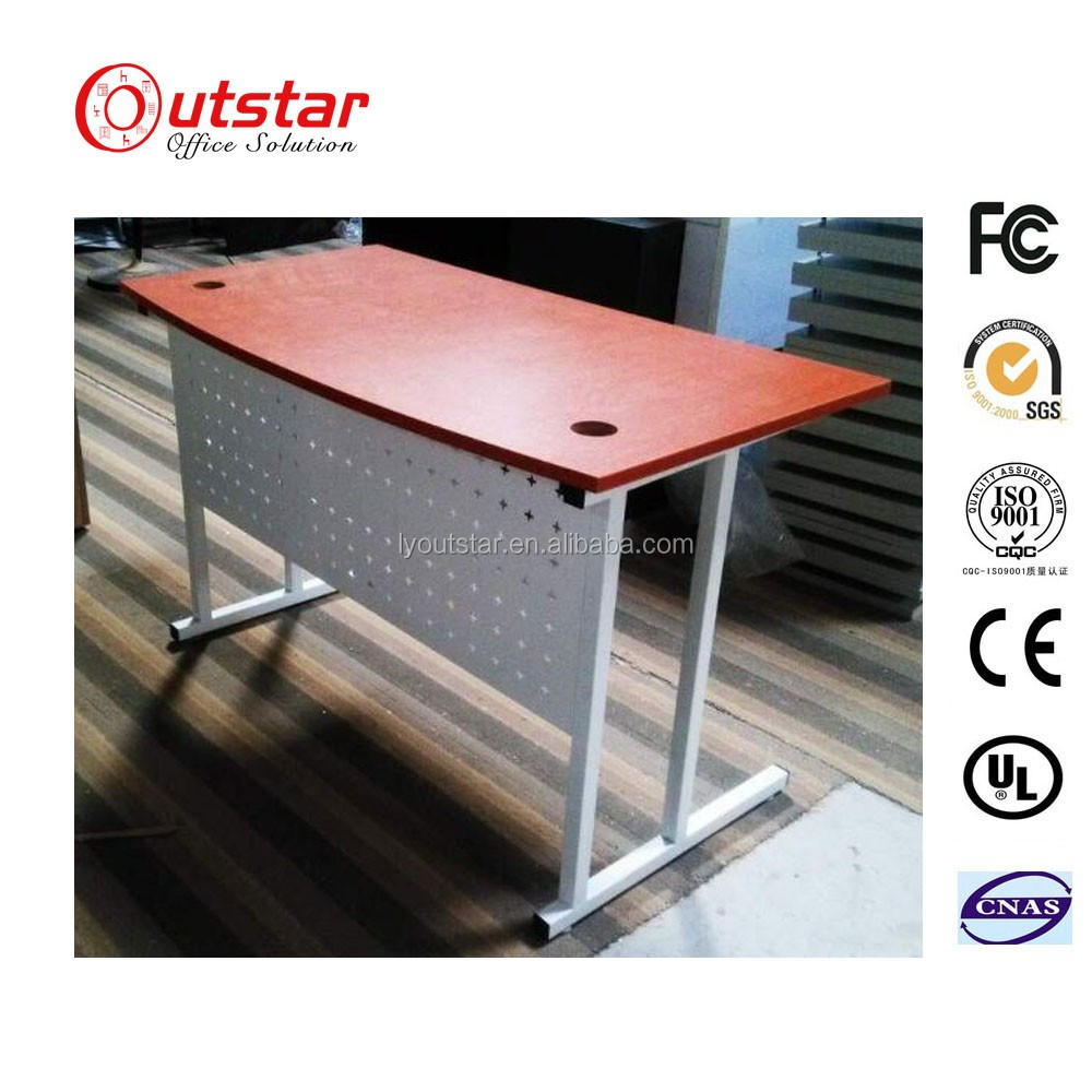 Outstar 2016 New Design Simple Structure Office Metal Wwriting Table MDF Desk Top and Steel Frame