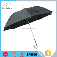Automatic straight umbrella with real Bamboo handle stick umbrella