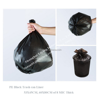Heavy duty construction black plastic garbage bag, 76mic