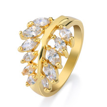 Fashion jewelry 18k gold plated leaf wedding gemstone ring , olive branch diamond cubic zirconia ring