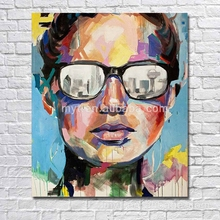 Abstract glasses man head modern canvsa wall pictures designer home deocr human figure oil painting