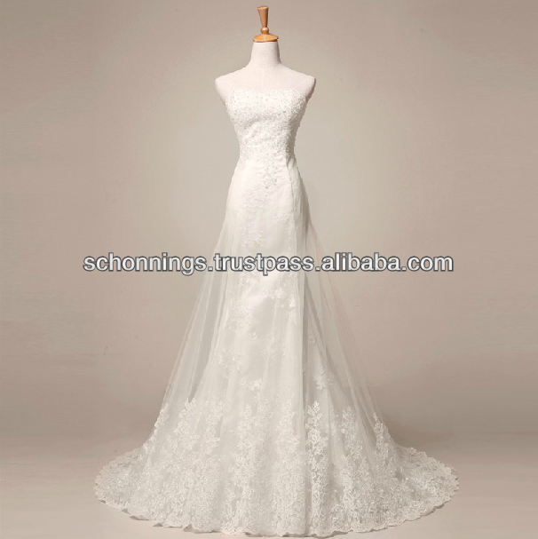 Elegant Ivory Sweetheart Lace Applique Bodice Tulle Ball Gown tulle Wedding Dress