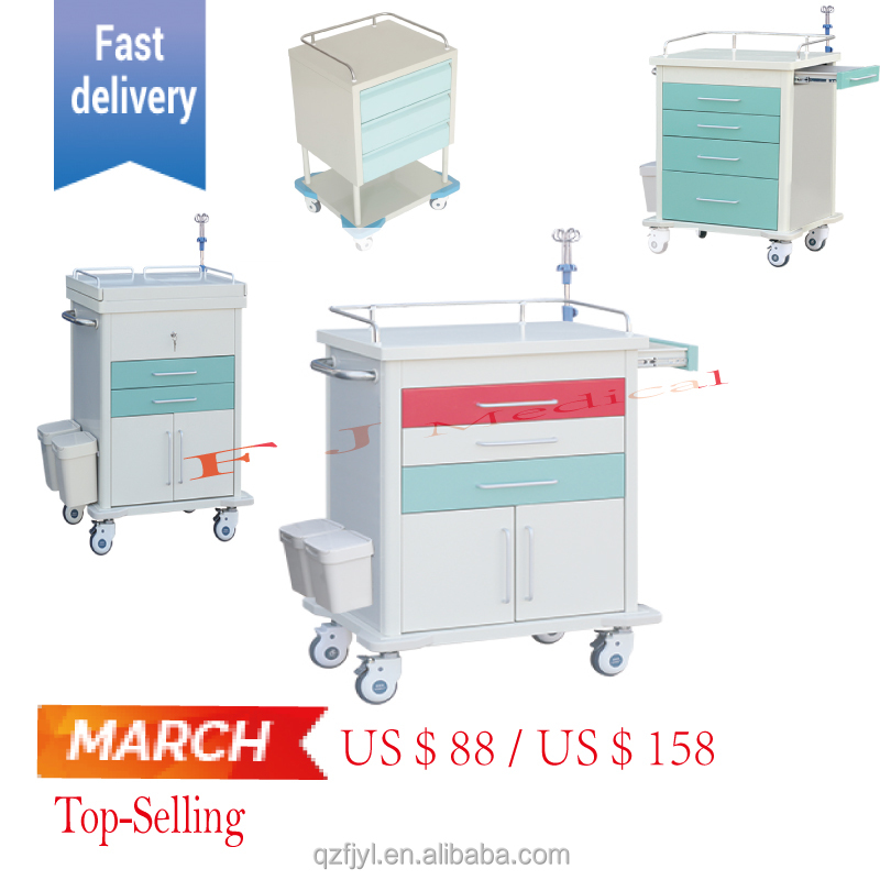 Anesthesia hospital trolley, medication trolley, hospital crash cart medical trolley