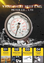 YN 100 Premium stainless steel liquid fillable hydraulic oil filled pressure gauge EN 837 - 1