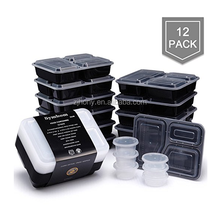 [12 Pack] 3 Compartment Meal Prep Food Storage Containers with Lids BPA Free Portion Control Bento Lunch Boxes (35oz)