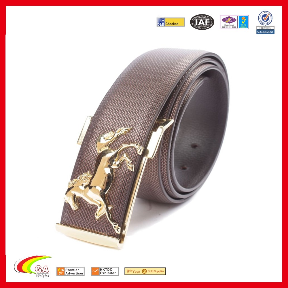 Men's Gold/Silver Horse Buckle Belt Leather Waistband