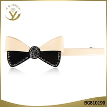 2017 Korean fashion bow tie shaped hairclips with big diamond acetate eco-firendly hair accessories