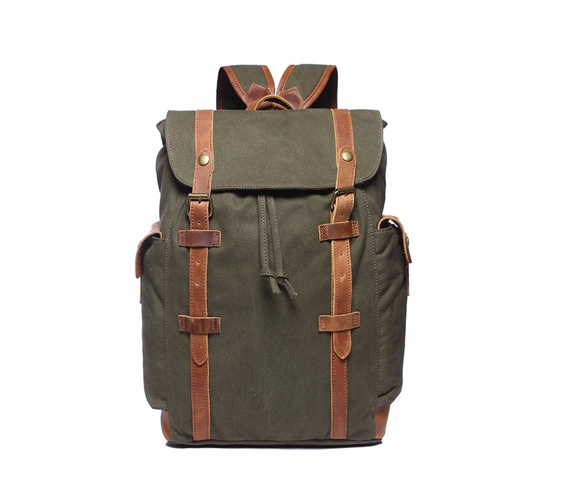 Wholesale customized logo vintage backpack canvas men with real leather trim made in China