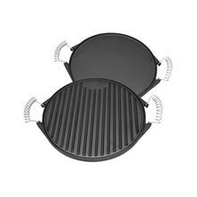 High quality dia43cm double sided cast iron round bbq griddle <strong>plate</strong>