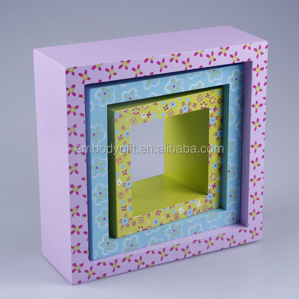 Hot sale s/3 MDF cube decorative wooden wall shelf design