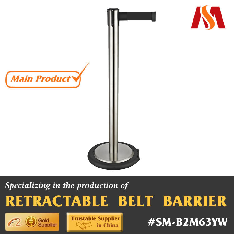 Stainless Steel Materila Polish Finish Promotional Crowd Control Queueing Management Airport Retractable Belt Post