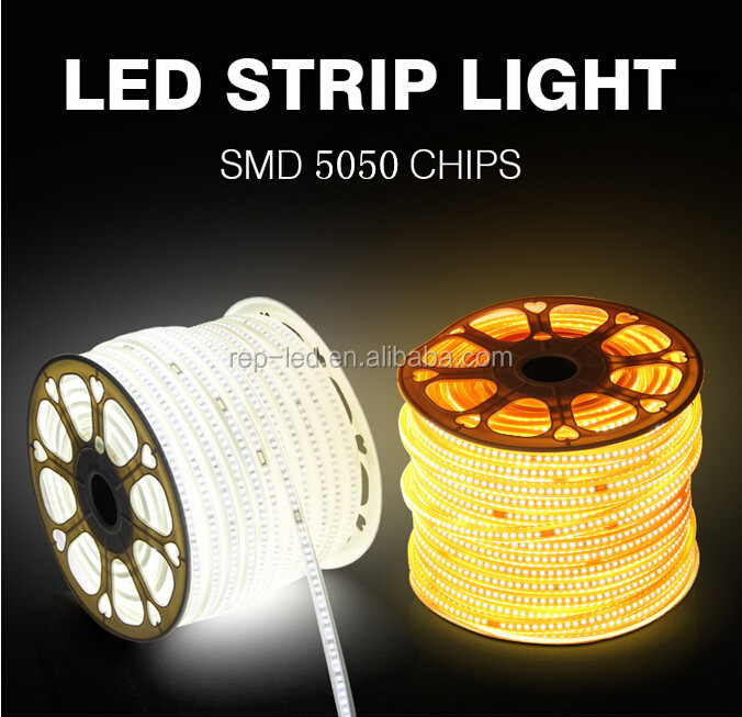 Smd 5050 Led Ropelight Ip65 14.4w 60led led backlight strip 220v CE RoHS