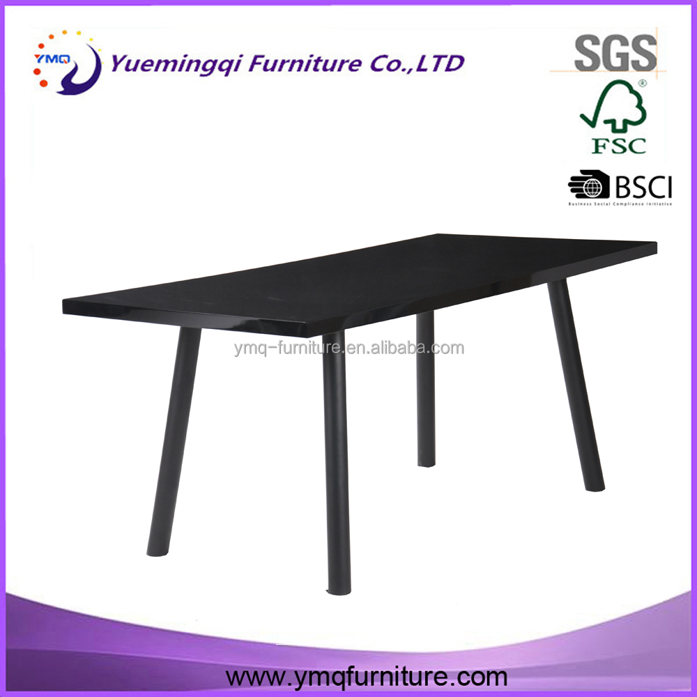 Hot selling contemporary family wood dinning table set/black dining table and chair