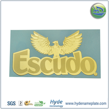 Plating golden color electroforming label eagle shape metallic stickers