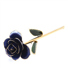 royal blue real natural rose 24k gold plated with radiant finish