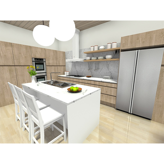European style modular kitchen cabinet design with island for sale