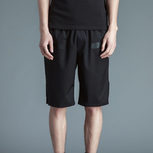 Summer trendy collection polyester/spandex full black shorts for man elastic waist strip ribben patch rock short pants