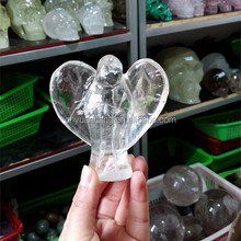 Hand carved natural clear quartz crystal angel sculpture ,crystal angel carvings