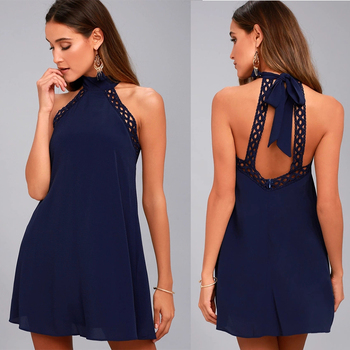 sexy backless halter lady dress