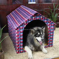 Fine quality new coming resistant soiling red check kennel cardboard pet dog house