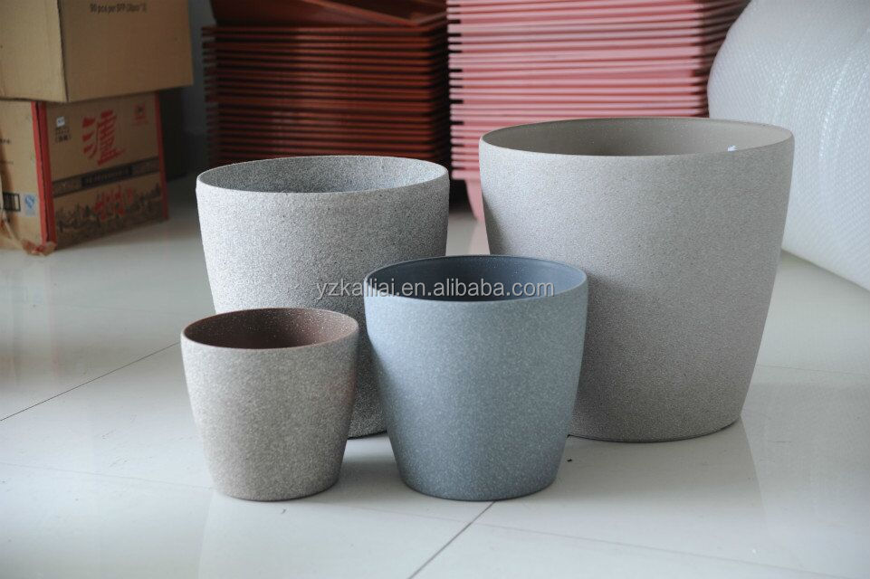 Light grey sand painted plastic flower pot decorative plastic flower pot