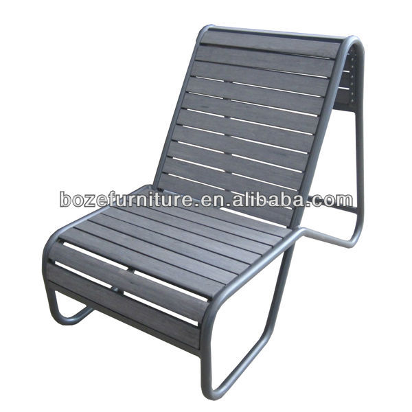 Polwood aluminum sun lounge/Plastic wood chaise lounge new design outdoor furniture