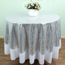 Round Gold Silver Sequin TableCloths Table linens overlays Wedding party Table sparkly Glitz decoration