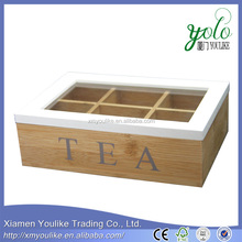Schabby Chic Style Bamboo Wood Tea Storage Box 4 Compartments with Lid