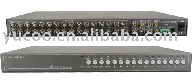 YK-TC16A 16 channels Color Quad Processor with NTSC/PAL Video Format