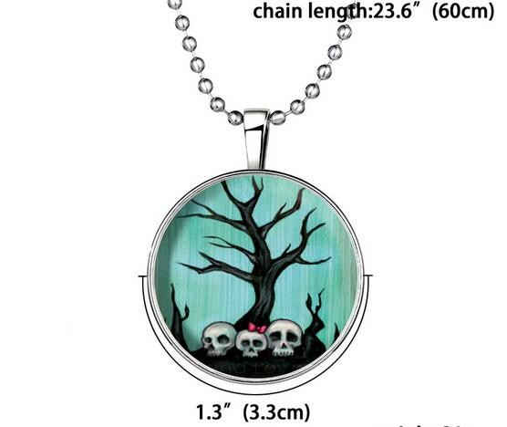 Fashion Jewelry Glow in the Dark Necklace Pendant Skull Chain Charm Necklace