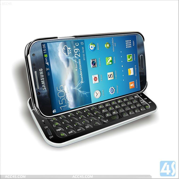 Sliding Wireless bluetooth keyboard case for samsung galaxy s4 I9500 I9508 P-SAM9500BLUEKB004