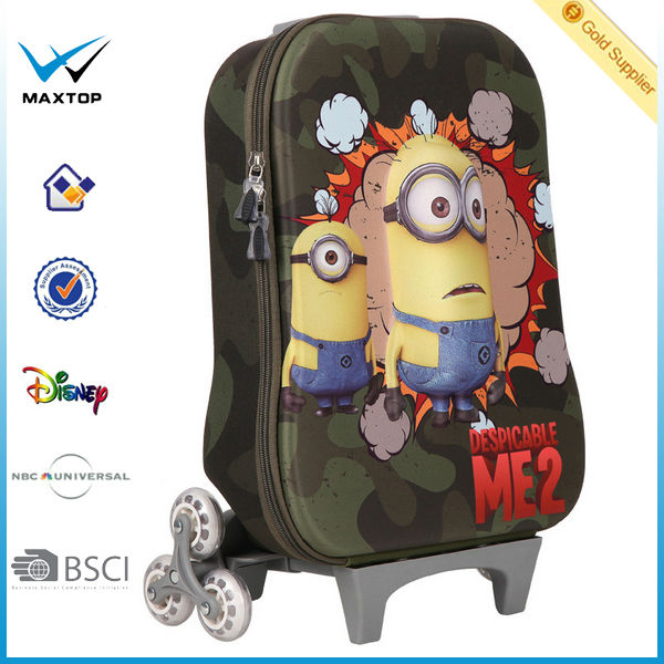 New Pupils 3 d cartoon despicable me minions trolley case Children rod travel luggage bags 3d EVA CASE