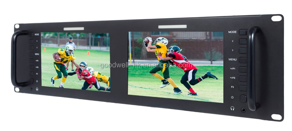 IPS 1280X 800 Dual 7 Inch 3RU 3G-SDI Video Production Rack Mount LCD Monitor