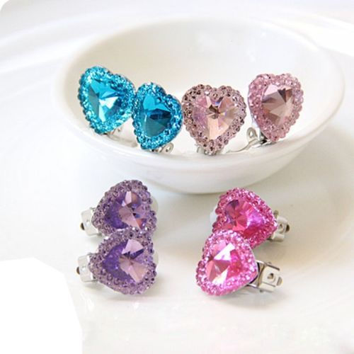 Heart Crystal Rhinestone Kids Girls Jewelry No Pierced Earrings Ear Clip 7BmA