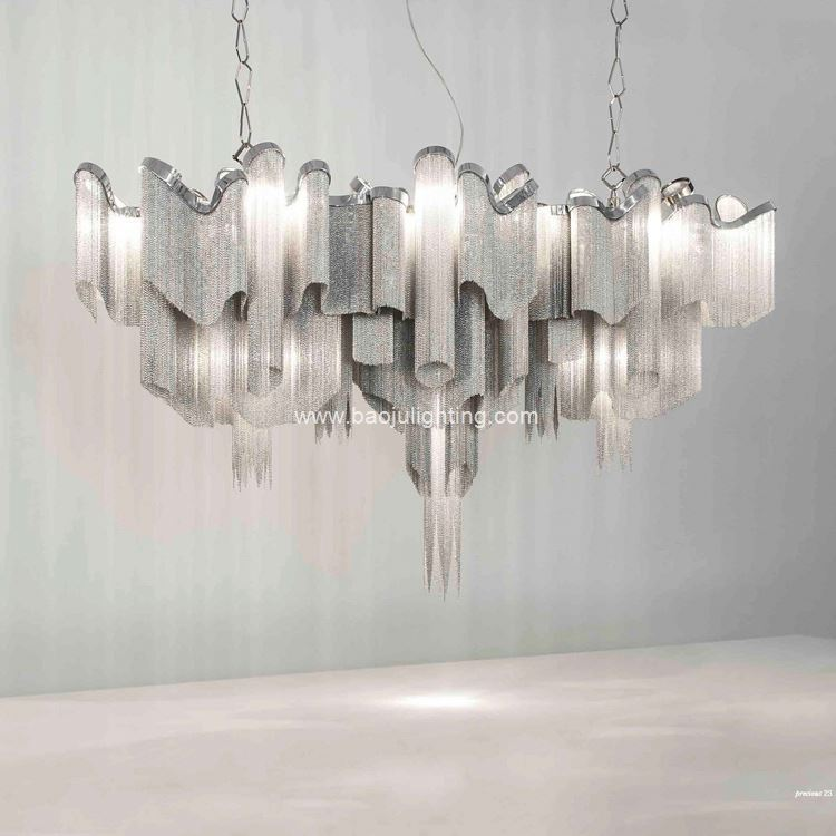 Modern Chain Grey Brushed Nickel Silver Pendant Light