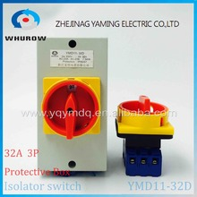 Isolator switch with protective box cover waterproof YMD11-32D 3P IP66 rotary changeover switch on-off power cutoff