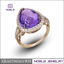 Amethyst 18K rose gold diamond earing and ring jewelry set